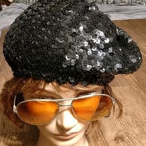 Black sequin beret